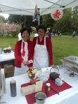 Ayako Archer (right) served mushroom Gyoza, which she enjoys preparing with her husband and three children.