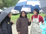 Bobbie Duvall of UBC's Faculty of Land and Food Systems keeps dry! Fortunately, there was essentially no rain during the event itself.