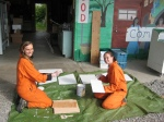 Anelyse and Amy painting wood planks to prepare for the chickens' arrival, in awesome jumpsuits of course!